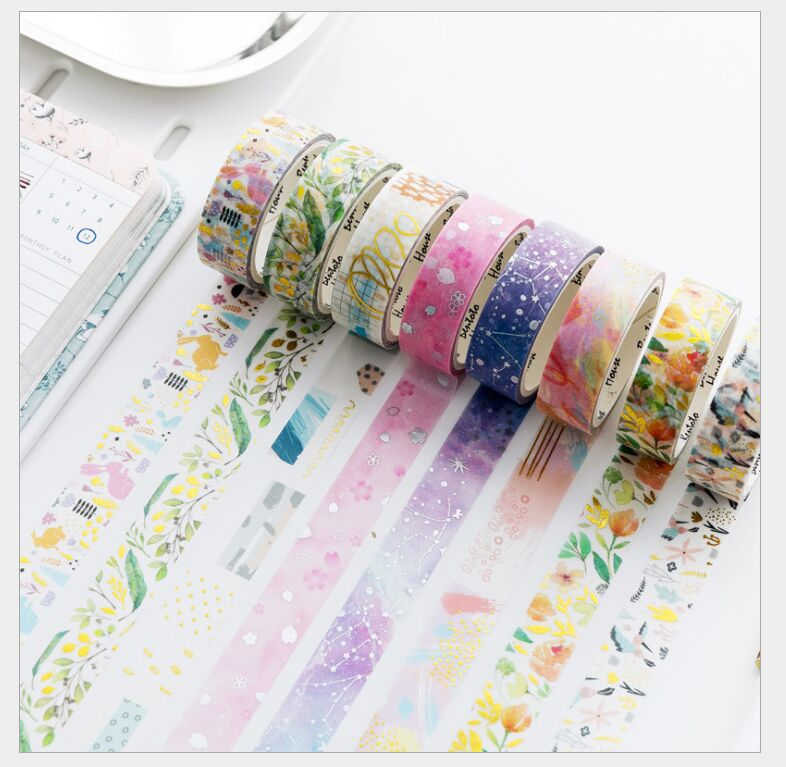 15mm Gold Foil Flowers Leaves Unicorn Dreamy Geometry Laser Silver Stars Myth Washi Tape DIY Planner Diary Masking Tape Escolar