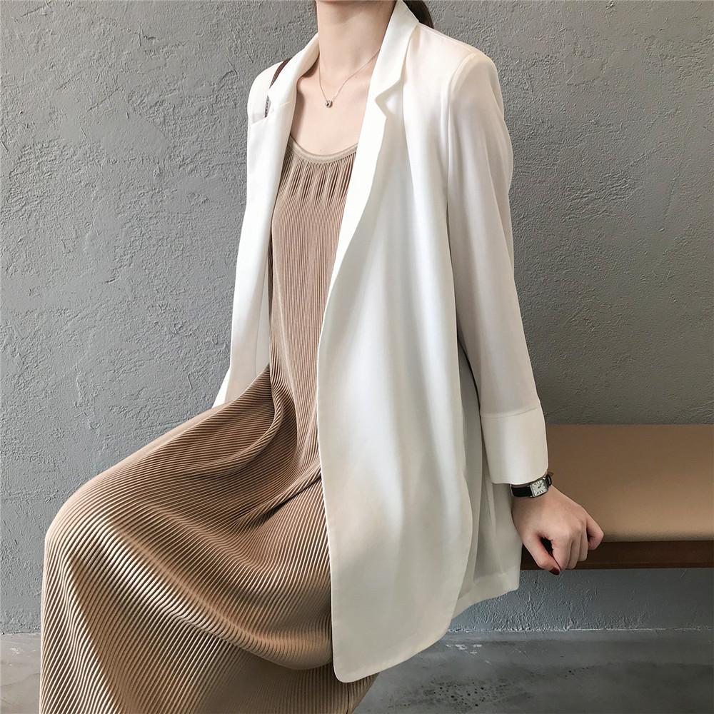 Summer Women Office Thin Suit 2019 Small Long Sleeve Chiffon Suit Jacket Women`s Autumn Work Blazer Suit All Match Suit Y0506 (28)