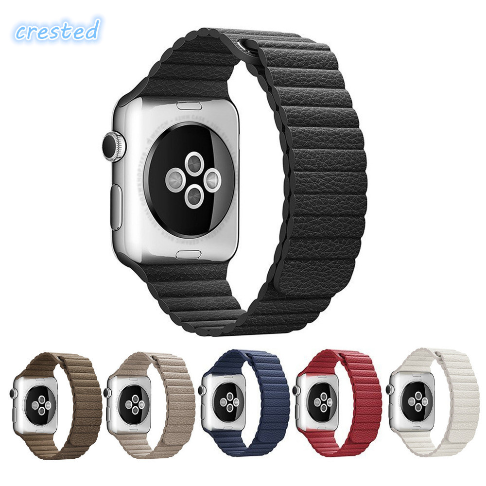 For apple watch band strap 42/38 mm Leather loop bracelet belt watchband for iWatch 3/2/1 Genuine Leather band Magnetic Closure woven canvas casual sports watch band iwatch strap genuine leather watch belt for apple watch