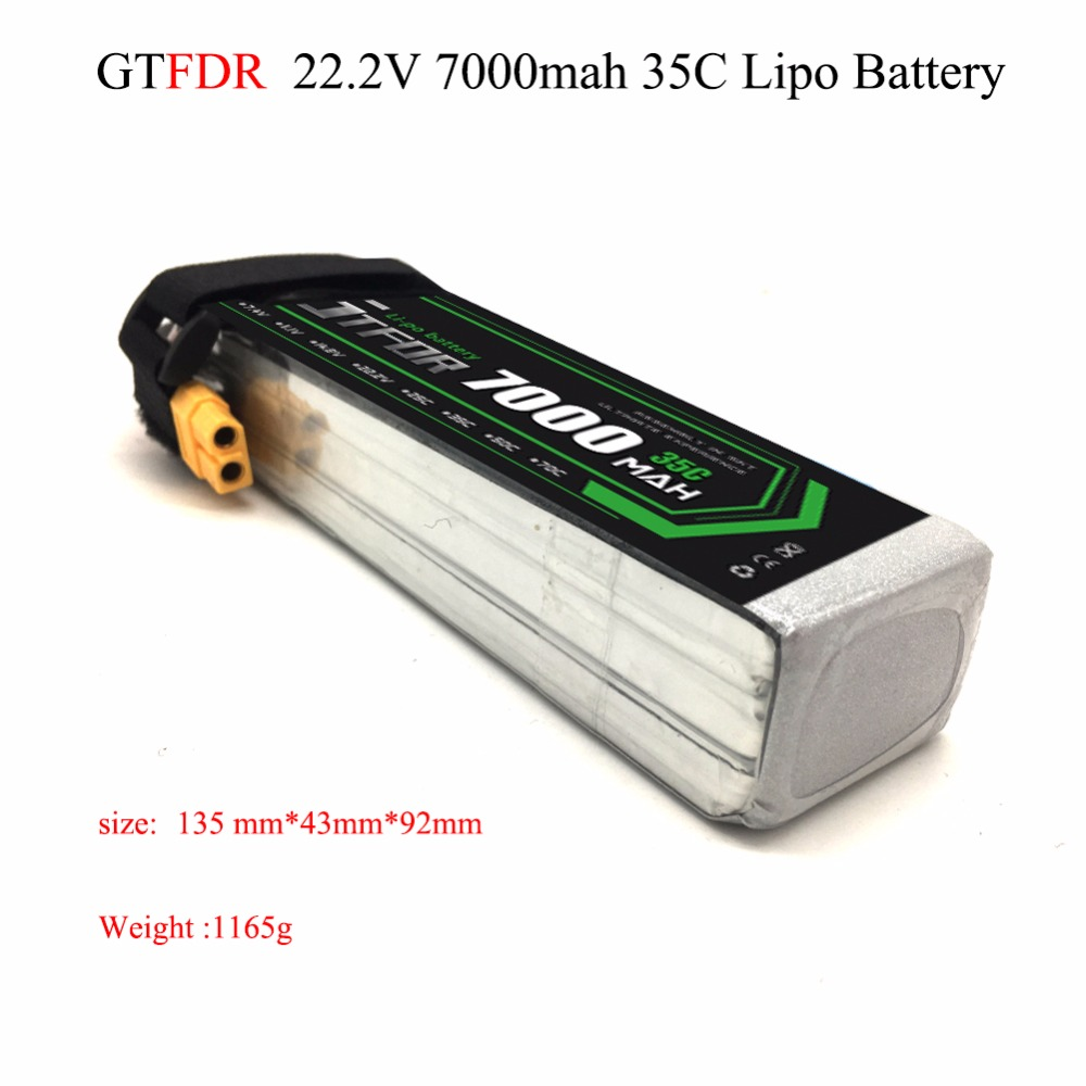 GTFDR Good Quality 22.2V 7000mAh 6S Lipo Battery 35C Max60C for RC Airplane Helicopter Quadrotor AKKU car truck boat RC drone lynyoung battery lipo 4s 3000mah 14 8v 35c for rc bike drone boat plane car truck helicopter