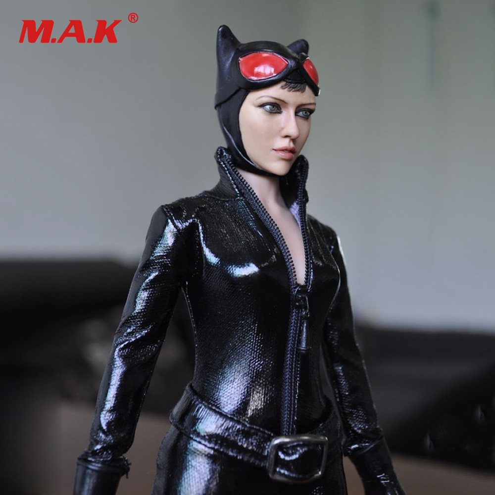 KMF029 1/6 Batman Catwoman Figure Doll With Black Leather Clothing Set Collectible Toy Models Gift Free Shipping kumik kmf029 1 6 comic version catwoman with two head shape12inch male doll set of end product