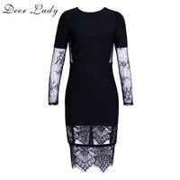 Deer Lady Sexy Lace Bandage Dresses 2017 Autumn Long Sleeve Bodycon Mini Dress Black Bandage Dress