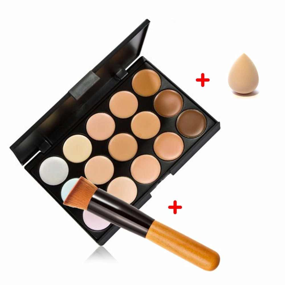 15 Color Contour Face Makeup Concealer Palette Corrector Make up Base Pallete + Sponge Puff + Powder Brush Set 2017 New Cosmetic