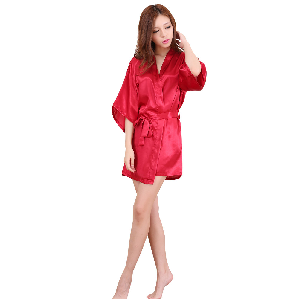 Plus Size S-XXL 2016 Rayon Longue Bathrobe Womens Kimono Satin Long Robe Sexy Lingerie Hot Nightgown Sleepwear With Belt