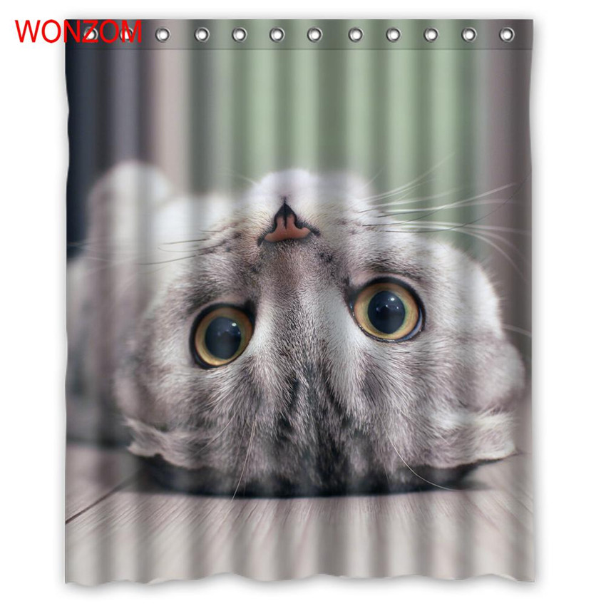 Wonzom 1pcs Cat Waterproof Shower Polar Bear Curtain Bathroom Decor Peacock Decoration Animal Cortina De Bano