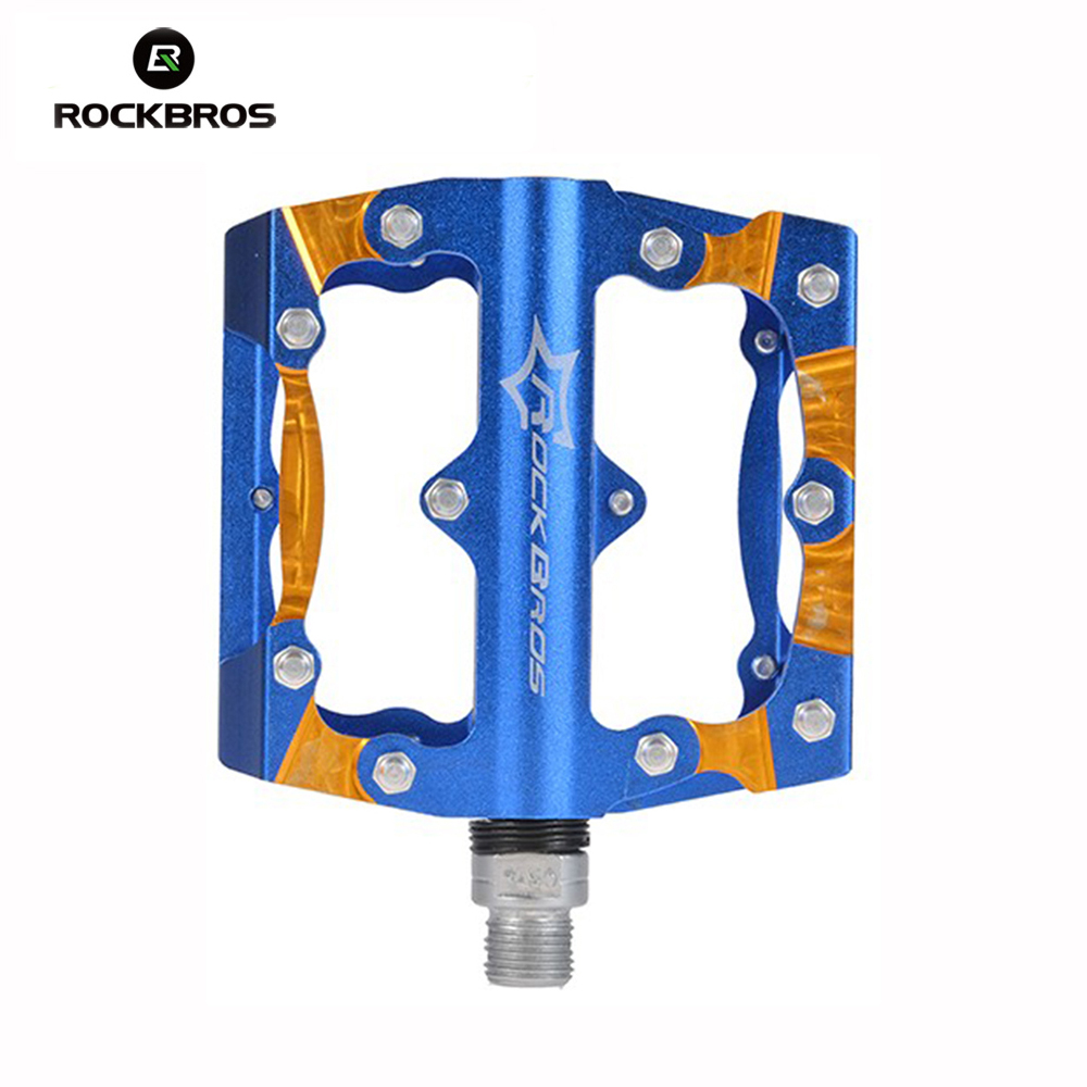 ROCKBROS New Design Mountain Bike Bicycle Pedals Aluminum Alloy Bike Pedals Big Foot Road Bike Bearing Pedals Bicycle Bike Parts rockbros titanium ti pedal spindle axle quick release for brompton folding bike bicycle bike parts