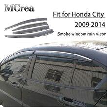 MCrea 4 stücke ABS Auto Rauch Fenster Sonne Regen Visier Deflektor Schutz Für Honda Stadt 2009 2010 2011 2012 2013 2014 zubehör
