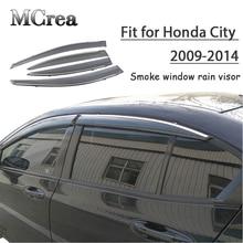 MCrea 4pcs ABS Car Smoke Window Sun Rain Visor Deflector Guard For Honda City 2009 2010 2011 2012 2013 2014 Accessories