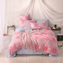 Reactive Printing BEDDING 4pcs bedsheet duvet cover set queen king size QUILT COVER SET flat sheet(China)