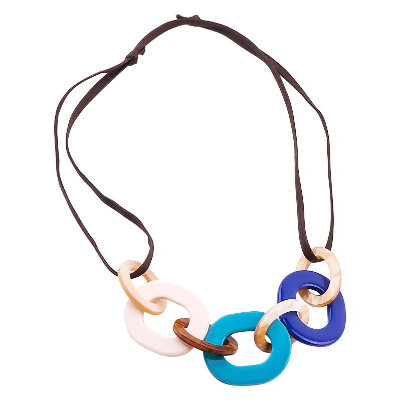 GuanLong Panjang Tali Kulit Kalung dengan Resin Akrilik Liontin Pernyataan Fashion Kalung Perhiasan Untuk Wanita Hadiah Natal