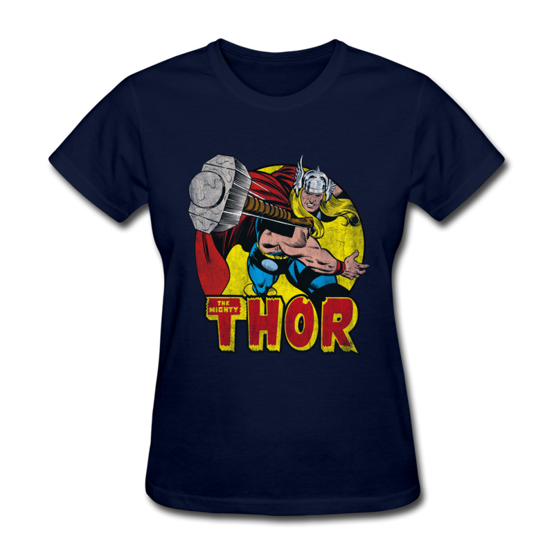 Thor Springs Into Action 100% Cotton Tops Shirts for Women Simple Style T-Shirt Design Slim Fit O Neck Tshirts Short Sleeve Thor Springs Into Action navy