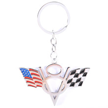 MAYITR 1pc Car V8 American Flag Keychain Metal USA American Flag Key Ring Keyfob Accessory Car Interior Decorative american interior