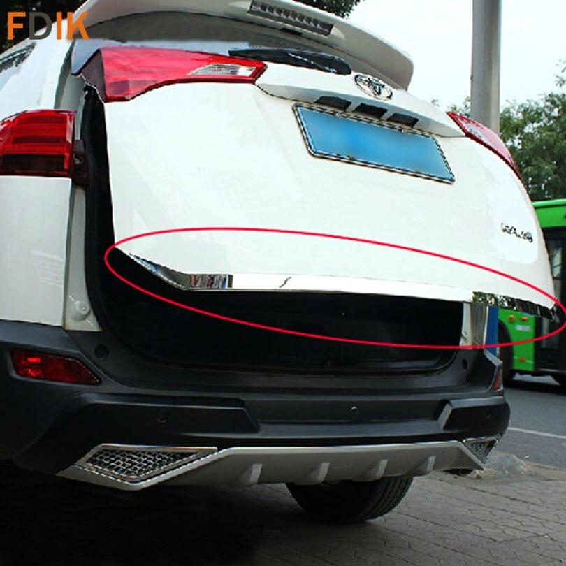 Protecteur de revêtement d'habillage de bâti de couvercle de coffre de porte de hayon d'acier inoxydable pour Toyota RAV4 2013 2014 2015