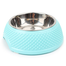 3 Color Pet Dog Cat Bowl Plastic Stainless Steel Pet Feeding Bowl Chihuahua Yorkie Puppy Dog Cat Food Bowl 14*18.5*6cm