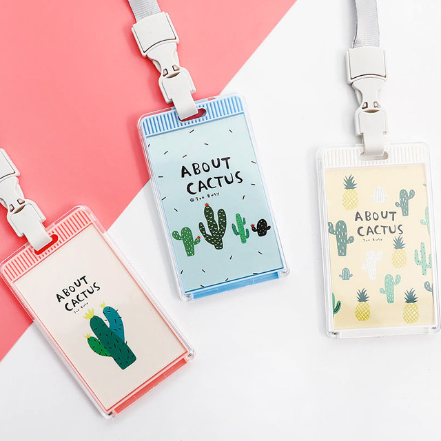 dff4daa69974 Cactus Bus Id Card Case Holders Identity Badge Bank Credit Business Card  Holder Lanyard Cover Storage Office Supplies Stationery