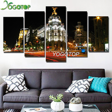 YOGOTOP DIY Diamond Painting Full Embroidery 5D Square/Round Drill Mosaic Wall Decorate Madrid city night Landscape 5pcs ML650 цена