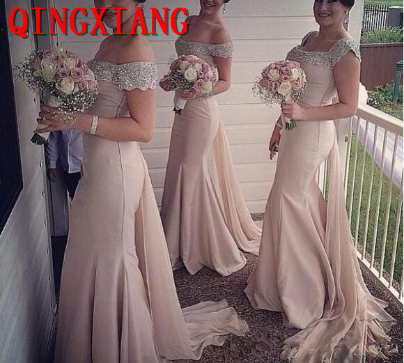 2019 Long Satin   Bridesmaids     Dresses   Pink Off the Shoulder Sexy Mermaid Sequins Formal Prom Party Gowns With Chiffon Train