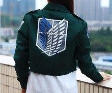 Ensen attack on titan capa de la chaqueta de color verde oscuro anime cosplay para la muchacha costum anastasia scouting legión traje mujeres chaqueta de bombardero