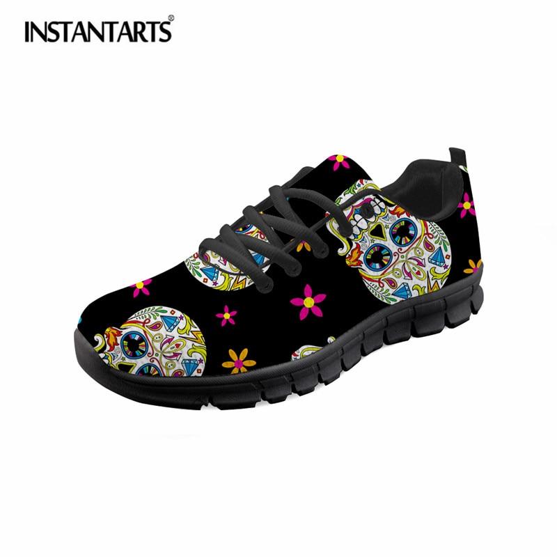 INSTANTARTS cráneo Retro Floral moda Casual marca zapatos Casual zapatillas  verano niñas Mujer Zapatos de malla transpirable 25e0eb1ee3f6