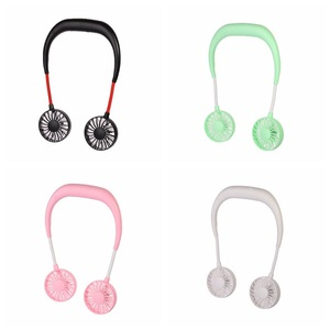 Image 5 - USB Rechargeable Wearable Portable Hand Free Neckband Fan  Personal Mini Neck Double Fans 3 Speed Adjustable Home Office Travel