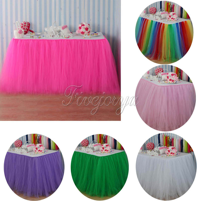 3Pcs lot Tulle Tutu Table Skirt Tulle Tableware for Wedding Decoration Baby Shower Party Wedding Table