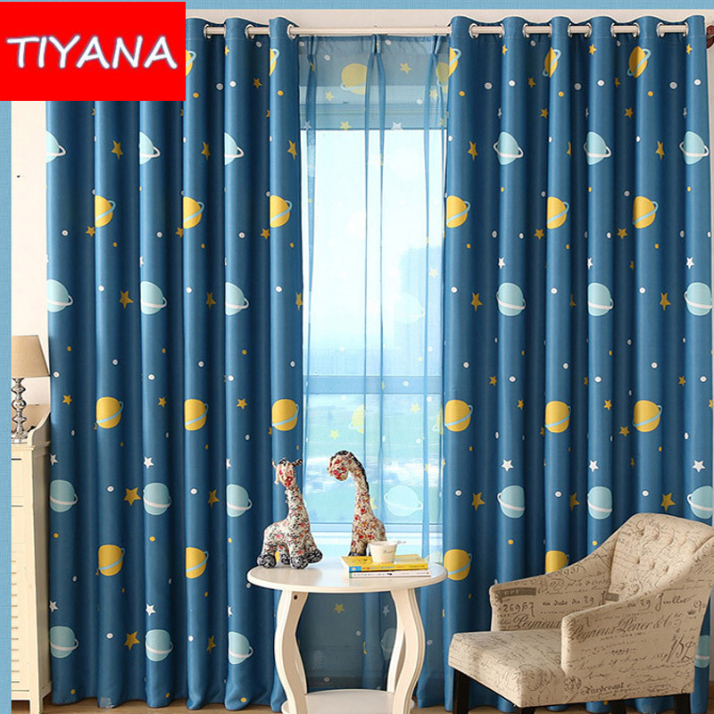 Buy cartoon blue planets curtains for for Cheap childrens curtain fabric