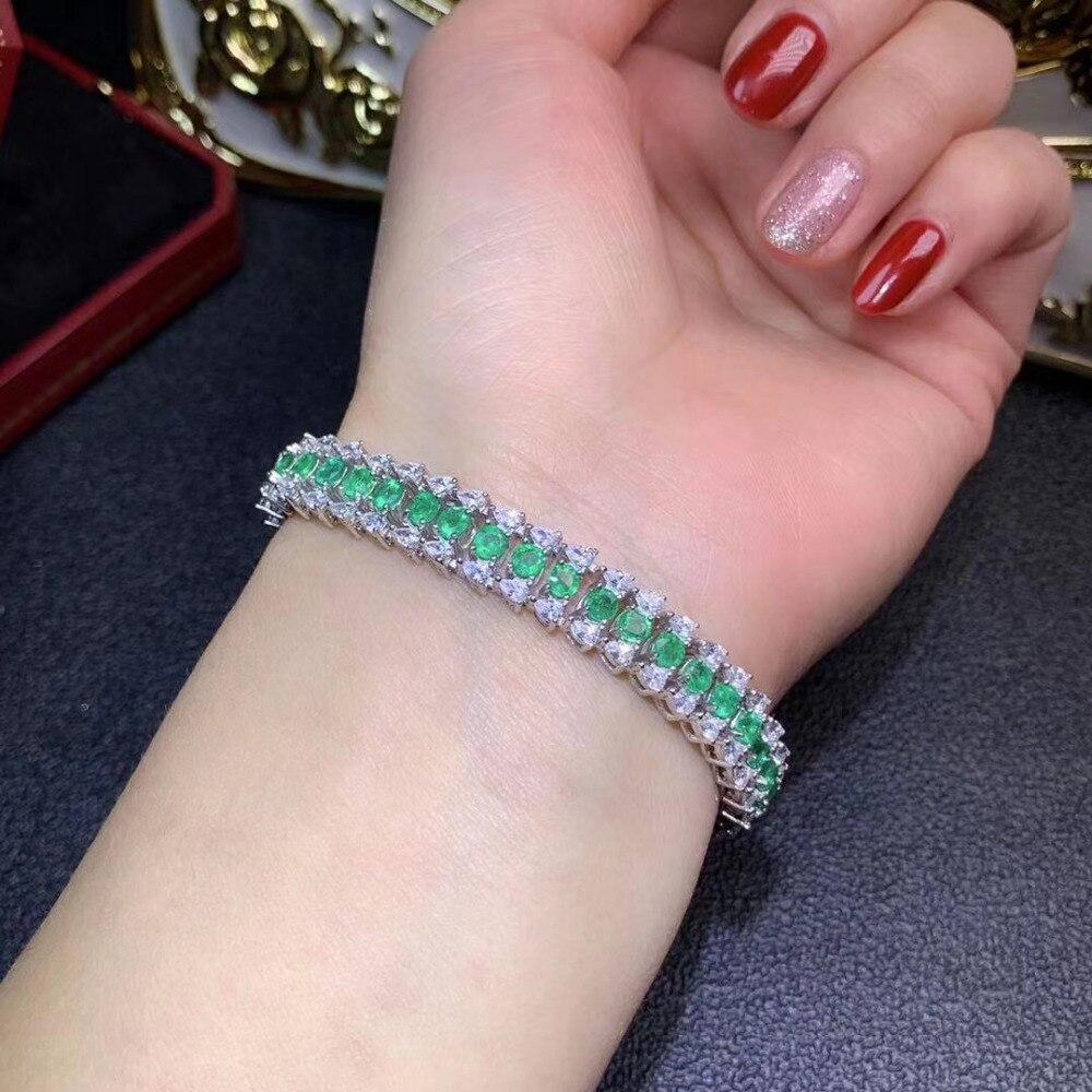 Bracelet en pierre naturelle verte émeraude bracelet en pierres précieuses naturelles S925 argent luxueux grande chaîne femmes cadeau de fête bijoux fins