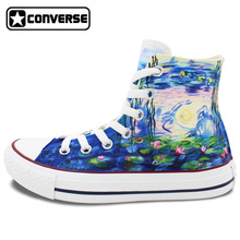 Converse All Star Monet Water Lilies Design Custom Hand Painted Shoes Women Men Canvas Sneakers