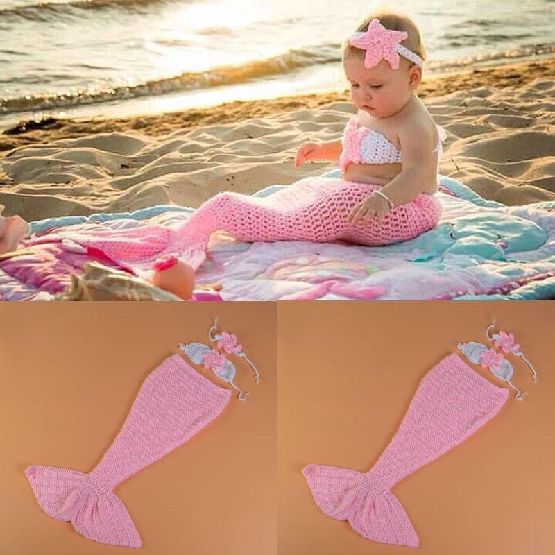 Розовый цвет для маленьких девочек Русалка реквизит для фотосессии вязаный хвост русалки с бюстгальтер и оголовье, Набор новорожденных мул... ...