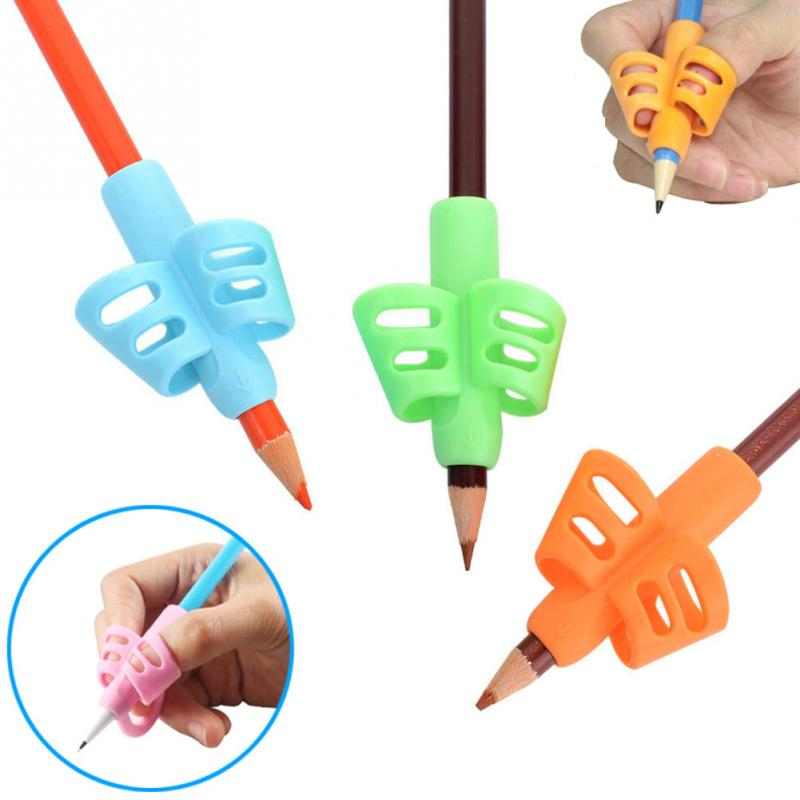 3Pcs/Set Children Silicone Pencil Pen Holder Tools Two Finger Ergonomic Posture Correction Tools Pencil Grip Writing Aid Grip