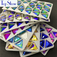 Topstone 12mm 16mm Triangle Rhinestones Multi AB Color Sew On Glass Crystal Stone For Wedding Dress