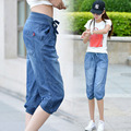 Shippng livre de Verão Das Mulheres Plus Size denim capris fêmea Tecido fino solto bloomers cintura elástica casuais 7 calças de brim 26-34