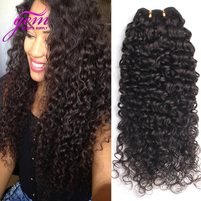 Brazilian Deep Wave Brazilian Curly Virgin Hair 3pcs 300g Lot Brazilian Virgin Hair Kinky Curly Gem Beauty GEM Hair Product 1B