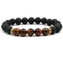 Модный стиль 7 Исцеление чакры браслет из бисера Природный лавовый камень диффузор Йога браслет ювелирные изделия armbenden voor vrouwen