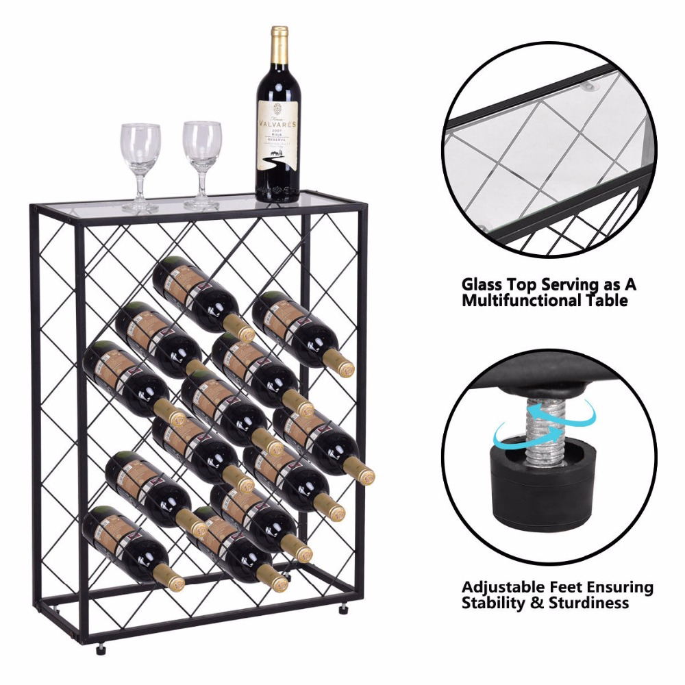 Giantex 32 Bottle Wine Rack Metal Storage Display Liquor Cabinet W