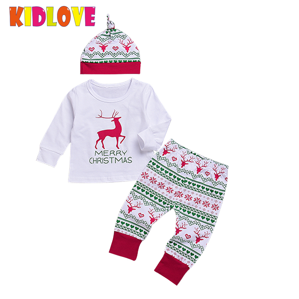KIDLOVE Cute Cotton Baby Boys Girls Merry Christmas Elk Outfits Long Sleeve Top Snowflake Trouser Hat 3pcs Set Xmax Clothes ZK30