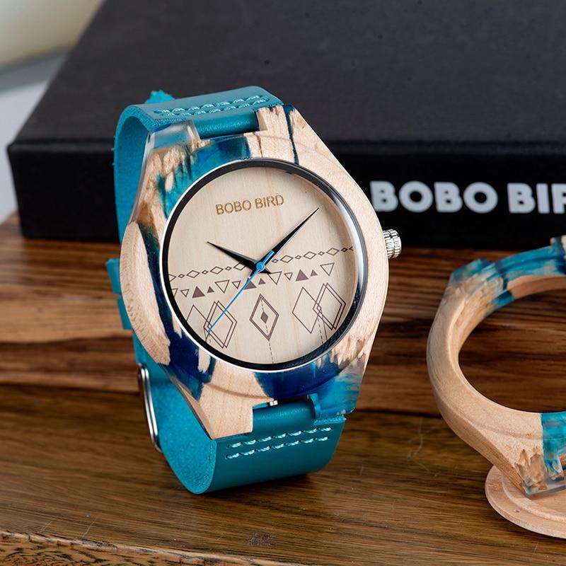 Reloj Mujer BOBO BIRD Women Watches Wood Bamboo Wristwatch Blue Soft Leather Men Watch Quartz Timepieces Custom Gifts C-S07
