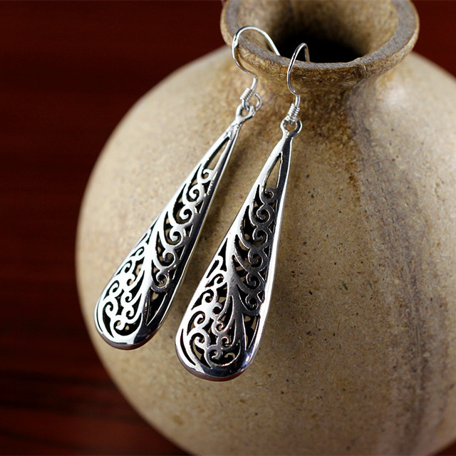 Thailand Chiang Mai Pure Handmade Sterling Silver Earrings Boutique S925 Las Free Shipping