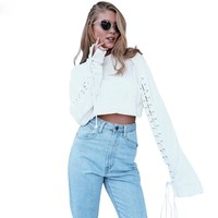 Lace Up Women Crop Tops Extra Long Flare Sleeve Sweatshirts Fashion Crew Hoodies Pullovers Tops