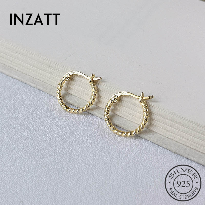 INZATT Real 925 Sterling Silver Minimalist Geometric Spiral Twist Round Hoop Earrings For Fashion Women Party OL Fine Jewelry