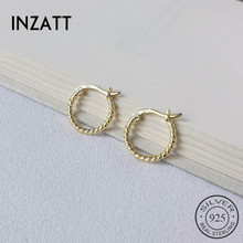 INZATT Real 925 Sterling Silver Minimalist Geometric Spiral Twist Round Hoop Earrings For Fashion Women Party OL Fine Jewelry