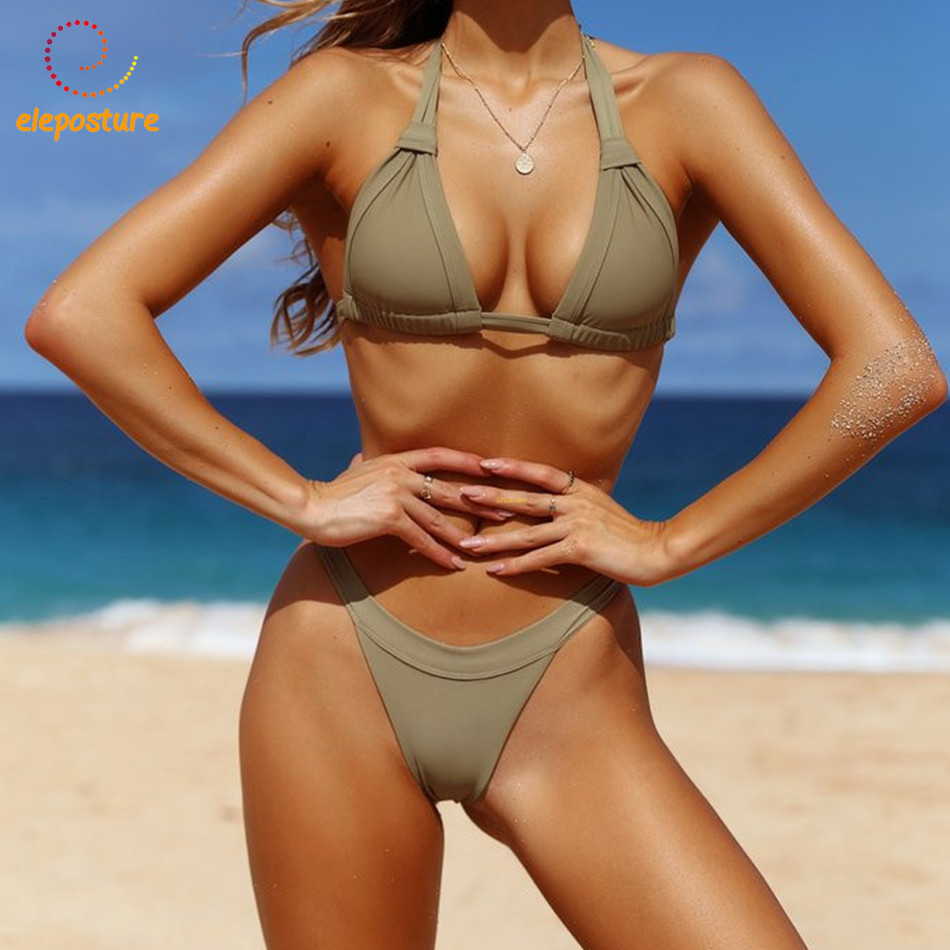 <font><b>2018</b></font> <font><b>Sexy</b></font> <font><b>Bikini</b></font> Women Swimsuit Halter Top <font><b>Bikini</b></font> Set Push Up Swimwear Brazilian Bathing Suits Beach Wear Swimming Suit Biquini image