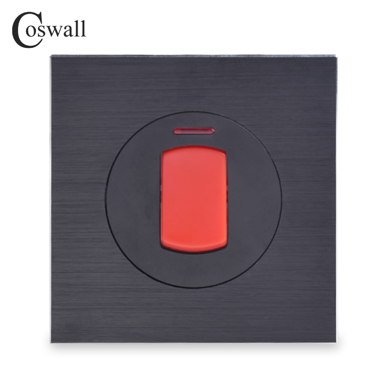 Coswall 45A Switch With Neon High Power Kitchen Water Heater Double Pole Wall Air Condition Switch Black Aluminum Metal PanelCoswall 45A Switch With Neon High Power Kitchen Water Heater Double Pole Wall Air Condition Switch Black Aluminum Metal Panel