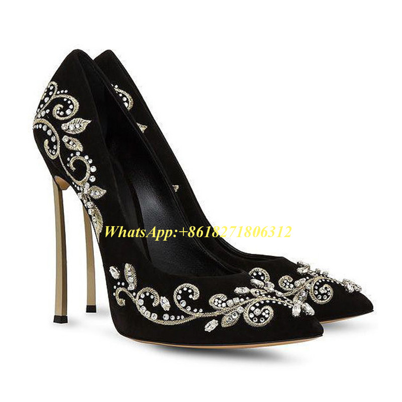 ФОТО Latest Fashion Ladies Pumps Black Red Suede Leather Evening Shoe Woman Flower Embroidered Blade High Heeled Wedding Shoes Bridal