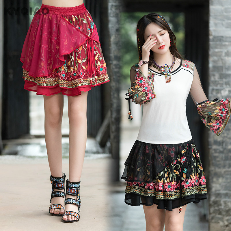 6982fcc5f KYQIAO mujer étnicas Falda midi 2019 verano femenino México estilo hippie  Rojo Negro vintage patchwork mini falda