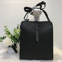 2019 Genuine leather Cowhide Brand Man The single shoulder bag Hand knitted Business High capacity