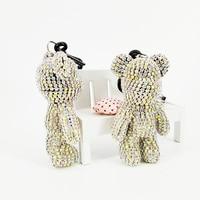 Rhinestone Bear Keychain Crystal Pendant Decorative Anime Keychains for Women Bags Accessories Jewelry Car Keyring Fashion Gifts