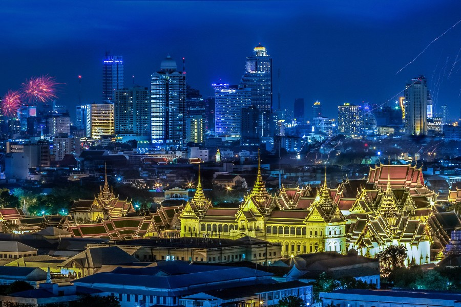 Thailand Skyscrapers Bangkok Megapolis Night Cities Scenery Landscape Fabric Silk Poster Print