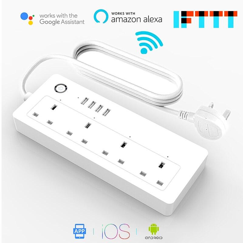 AOFO WiFi силовая полоса, стандарт Великобритании, 100 240 В, 13А, номинальная умная розетка удлинитель alexa и google home Tuya App USB