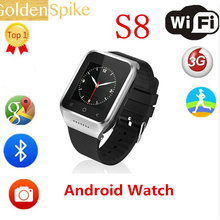 "RoYvShg S8 Smart Watch 1.54"" MTK6572 Android 4.4 Dual Core 2MP CAM 512MB+4GB GPS WiFi MP4 FM Phone Record Smartwatch Wristwatch(China)"